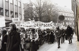"Demonstration in Copenhagen, one banner says: ""For the preservation of RUC"", another says: ""For the right to education"""