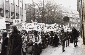 """Demonstration in Copenhagen, one banner says: """"For the preservation of RUC"""", another says: """"For the right to education"""""""